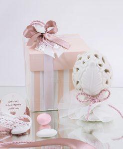 bomboniera pigna led linea liberty con scatola rosa cordoncino e gessetto cuore