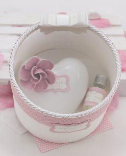 bomboniera profumatore cuore porcellana capodimonte con fiore rosa con profumo linea blush rdm design