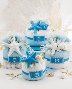 bomboniera sacchetto con confetti e stella marina porcellana bianca e blu rdm design linea oceania