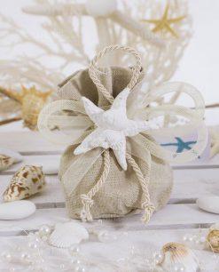 bomboniera sacchetto portaconfetti juta con gessetto stella marina
