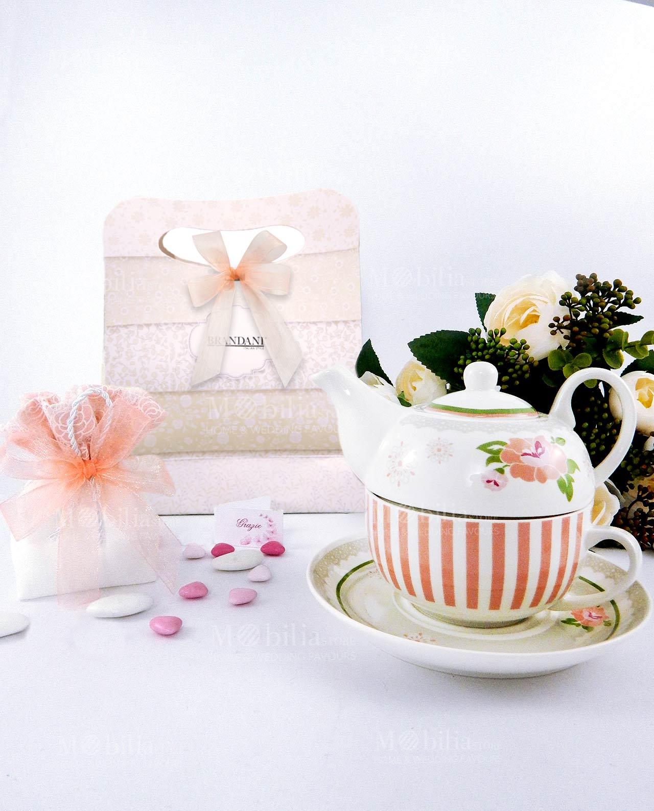 bomboniera teiera con bag e sacchettino confetti collezione peonia brandani
