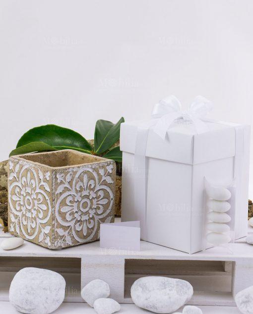 bomboniera vaso cemento piccolo con scatola e fiocchi linea casablanca ad emozioni