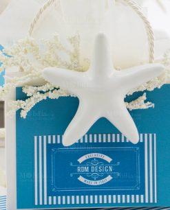 bustina portaconfetti con stella marina bianca linea oceani rdm design