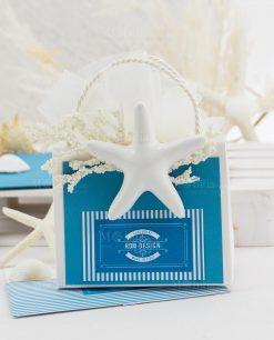 bustina portaconfetti con stella marina bianca porcellana capodimonte linea oceania rdm design