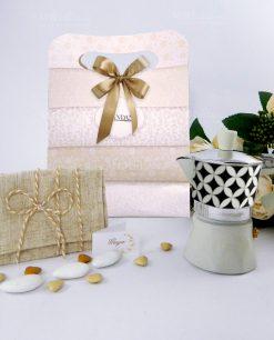 caffettiera 3 tazze collezione alhambra con bag con sacchetto bustina juta brandani