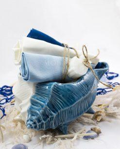 conchiglia grande con 3 salviette blu bianca e azzurra e saponetta linea oceano ad emozioni
