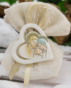 cuore con sacra famiglia su sacchettino coton juta beige