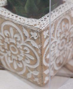 dettaglio vaso cemento dentro scatola trasparente linea casalbanca