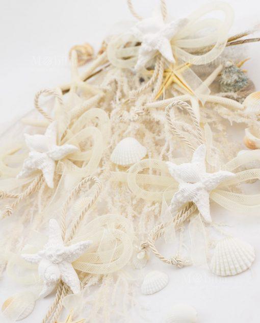 gesso stella marina con conchiglie e cordoncino rete