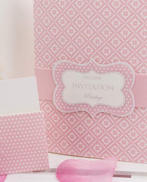 invito nozze cartoncino rosa e bianco linea blush rdm design