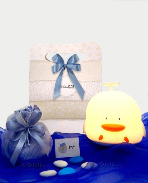 lampada duck touch cromoterapia con sacchetto con bigliettino con bag brandani