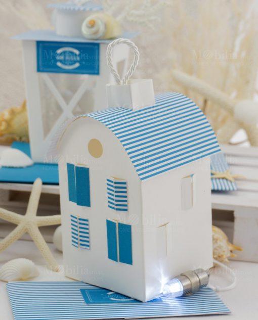 lanterna casetta con luce led e tetto a strisce blu linea oceania rdm design