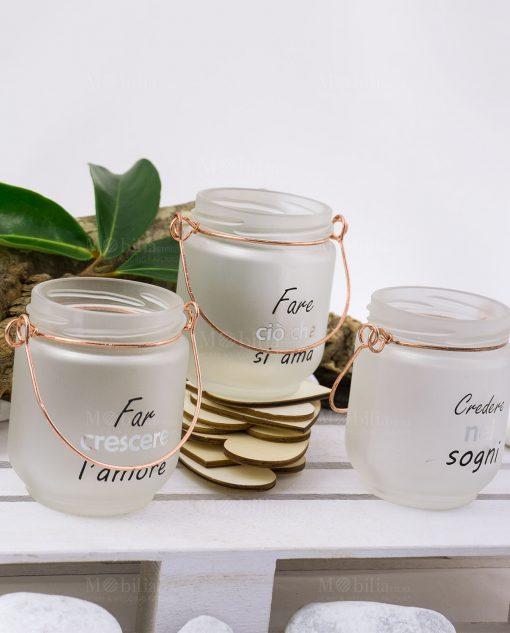 lanterna portacandela vetro satinato con scritte assortito collezione seta