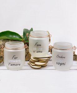 lanterna portacandela vetro satinato con scritte collezione seta