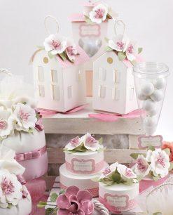 lanterne cartoncino led flute con fiore e pochette linea blush rdm design