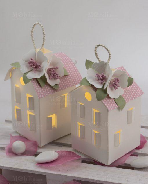 lanterne led cartoncino con tetto rosa due modelli linea blush rdm design