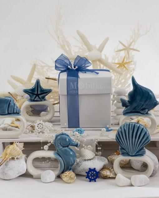 legatovagliolo confezione basic con nastro organza blu scatola cartoncino bianco linea oceano ad emozioni