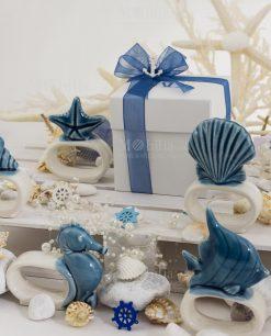 legatovagliolo confezione basic nastro organza blu scatola cartoncino bianco linea oceano ad emozioni