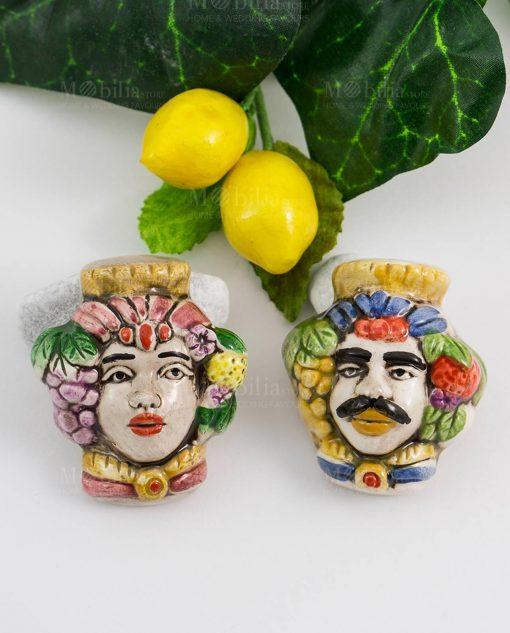 magnete coppia testa di moro ceramica uomo e donna