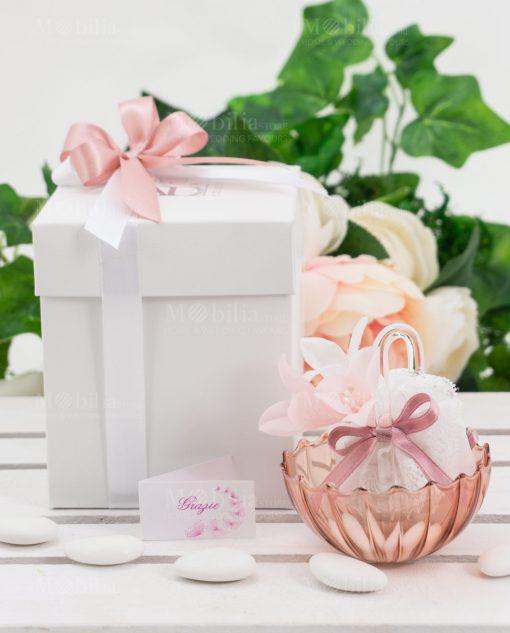 ombrellino piccolo vetro rosa con sacchetto con scatola linea ombrellini ad emozioni