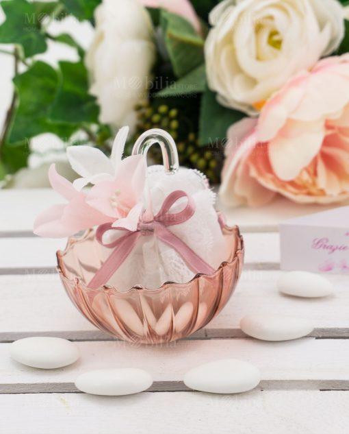 ombrellino piccolo vetro rosa con sacchetto linea ombrellini ad emozioni