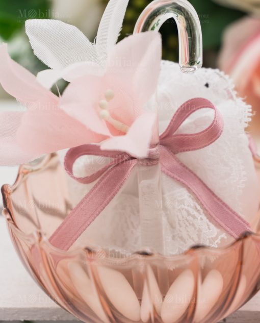ombrellino piccolo vetro trasparente rosa con sacchetto linea ombrellini ad emozioni