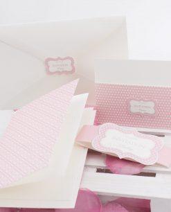 partecipazione nozze cartoncino rosa e bianco con busta linea blush rdm design