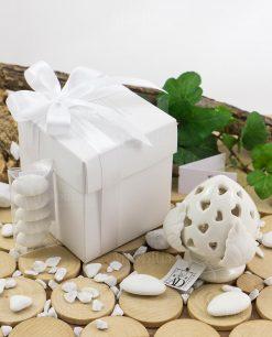 pigna led piccola con scatola cartoncino bianco con tubicino confetti con nastrino raso confezionata linea liberty ad emozioni