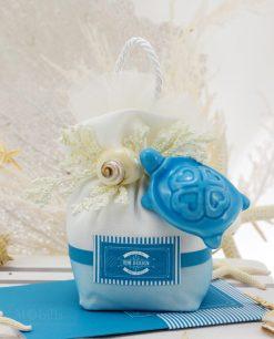 pochette con tartaruga blu ceramica capodimonte con conchiglia linea oceania rdm design