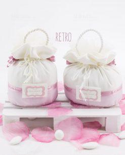 pochette rosa e bianca due misure retro linea blush rdm design