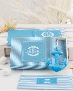 portaconfetti a forma di portafiammiferi con ancora blu linea oceania rdm design