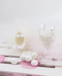 portaconfetti a forma di tutù bianco con ricamo linea prima ballerina rdm design