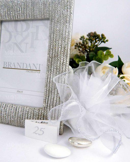 portafoto intrecciato argento con sacchettino brandani