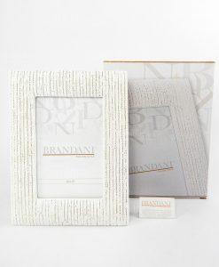portafoto intrecciato bianco con scatola brandani