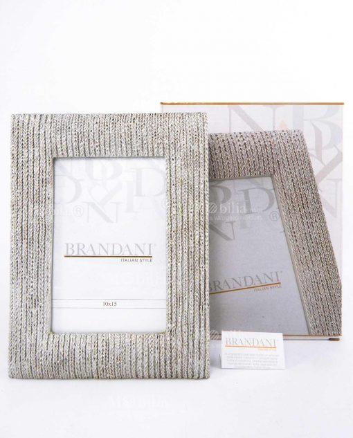 portafoto intrecciato oro argentato con scatola brandani