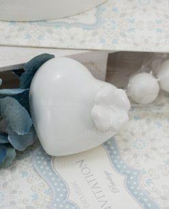 profumatore cuore piccolo con quadrifoglio porcellana bianca linea sweet memory rdm design
