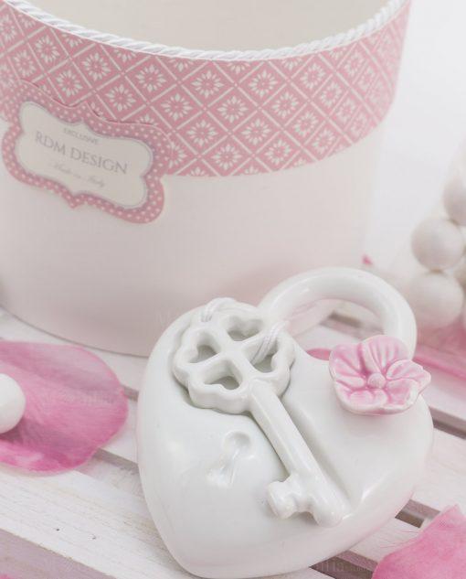 profumatore cuore porcellana capodimonte medio con fiore rosa e chiave linea blush rdm design