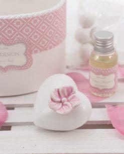 profumatore cuore porcellana capodimonte piccolo con fiore rosa linea blush rdm design