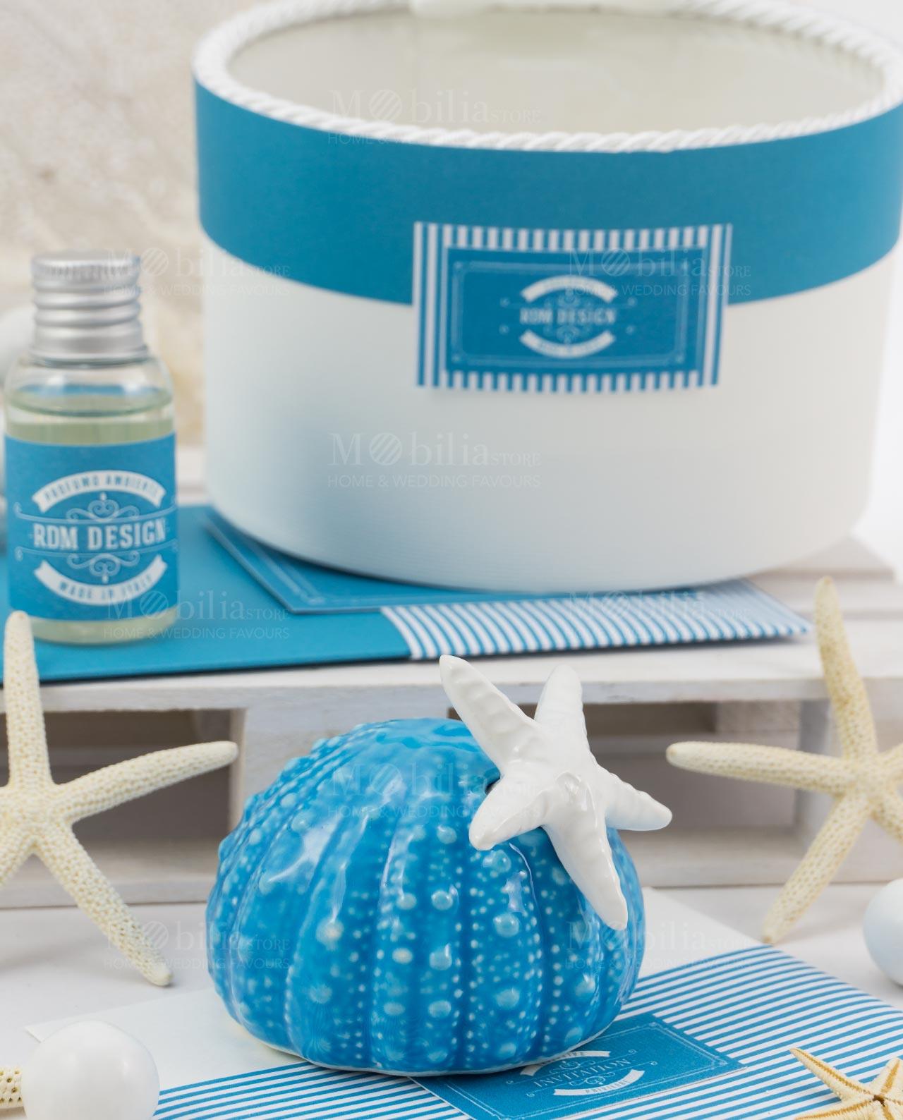 Bomboniera profumatore blu con fragranza linea Oceania Rdm