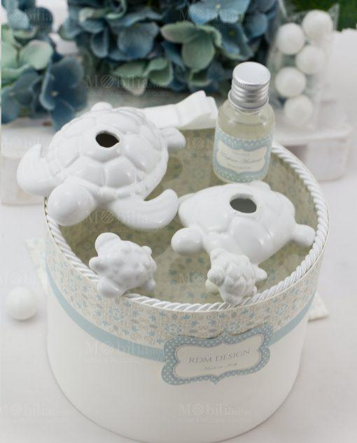 profumatori tartaruga con profumo e scatola linea sweet memory rdm design