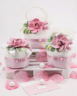 sacchetti pochette rosa e bianchi con fiore ceramica rosa rdm design linea blush