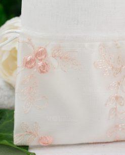 sacchettino bianco con ricamo rosa