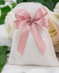 sacchettino bianco ricamato con doppi fiocchi rosa antico
