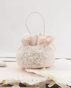 sacchettino borsetta rosa con pizzo rebrodè e perline linea forever rdm