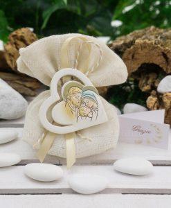 sacchetto coton juta beige con nastro e icona sacra famiglia