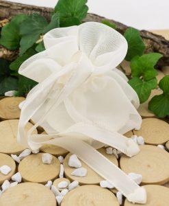 sacchetto fai da te organza avorio con cuoricino linea happiness ad amozioni