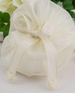 sacchetto organza con nastrino con cuoricini linea happiness ad emozioni