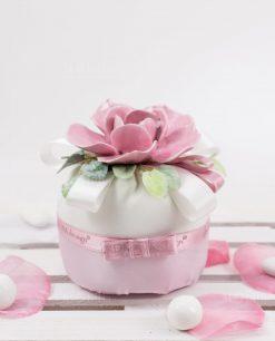 sacchetto palla tessuto bianco e rosa con fiore ceramica rosa rdm deisgn linea blush