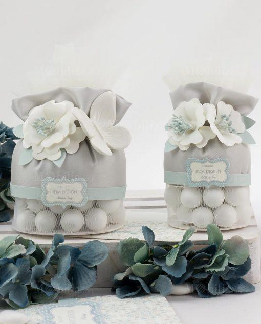 sacchetto pochette tessuto grigio con confetti praline rdm design sweet memory