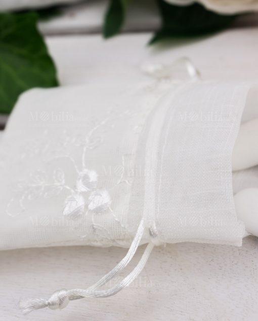 sacchetto portaconfetti bianco con ricami e tirante